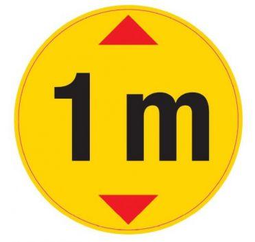 Opastetarra Turvaetäisyys 1m, pyöreä lattialaminoitu 150mm