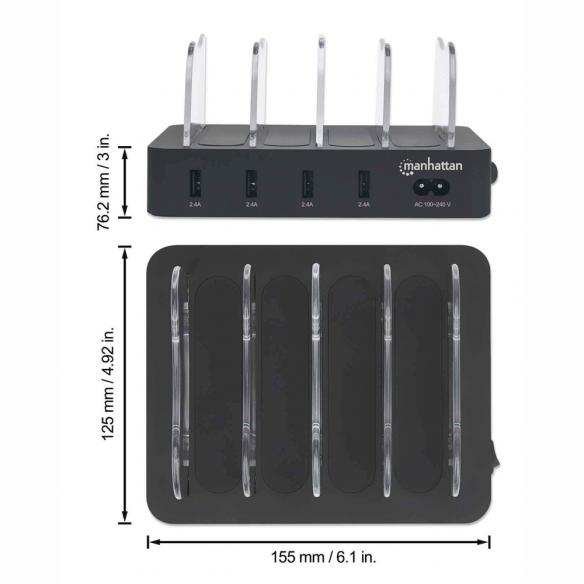 Manhattan 4-porttinen USB-latausasema 34W kokonaisteholla