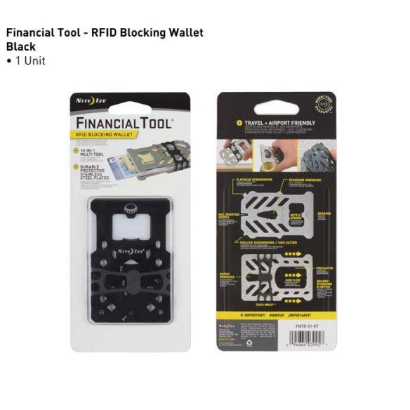 NiteIze FinancialTool RFID Blocking Wallet, musta