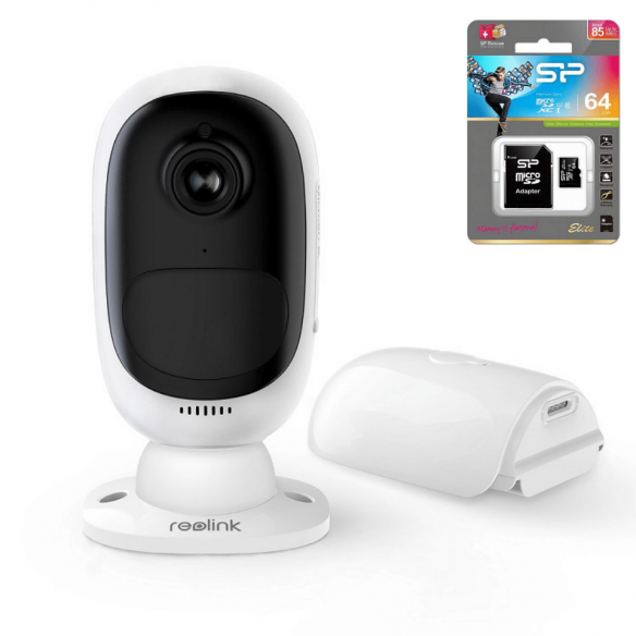Reolink Argus 2 langaton kamera akulla ulkokäyttöön + 64GB muistikortti