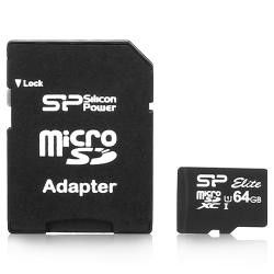Silicon Power 64GB microSDXC -kortti (Class 10 Elite UHS-1, SD-adapterilla)